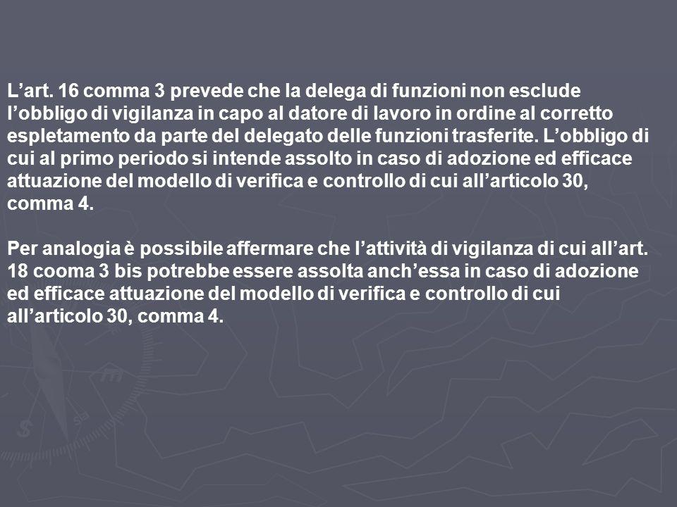 L'art. 16 comma 3 prevede che la delega di funzioni non esclude l'obbligo di vigilanza in capo al datore di lavoro in ordine al corretto espletamento