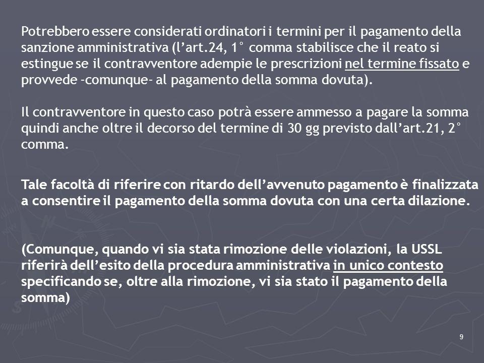 9 Potrebbero essere considerati ordinatori i termini per il pagamento della sanzione amministrativa (l'art.24, 1° comma stabilisce che il reato si est