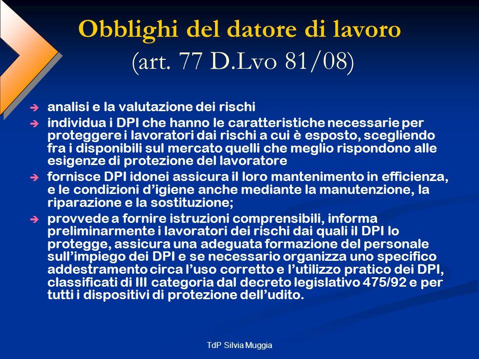 TdP Silvia Muggia Obblighi dei lavoratori (art.