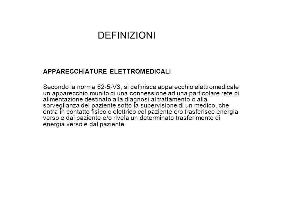 DEFINIZIONI APPARECCHIATURE ELETTROMEDICALI Secondo la norma 62-5-V3, si definisce apparecchio elettromedicale un apparecchio,munito di una connession