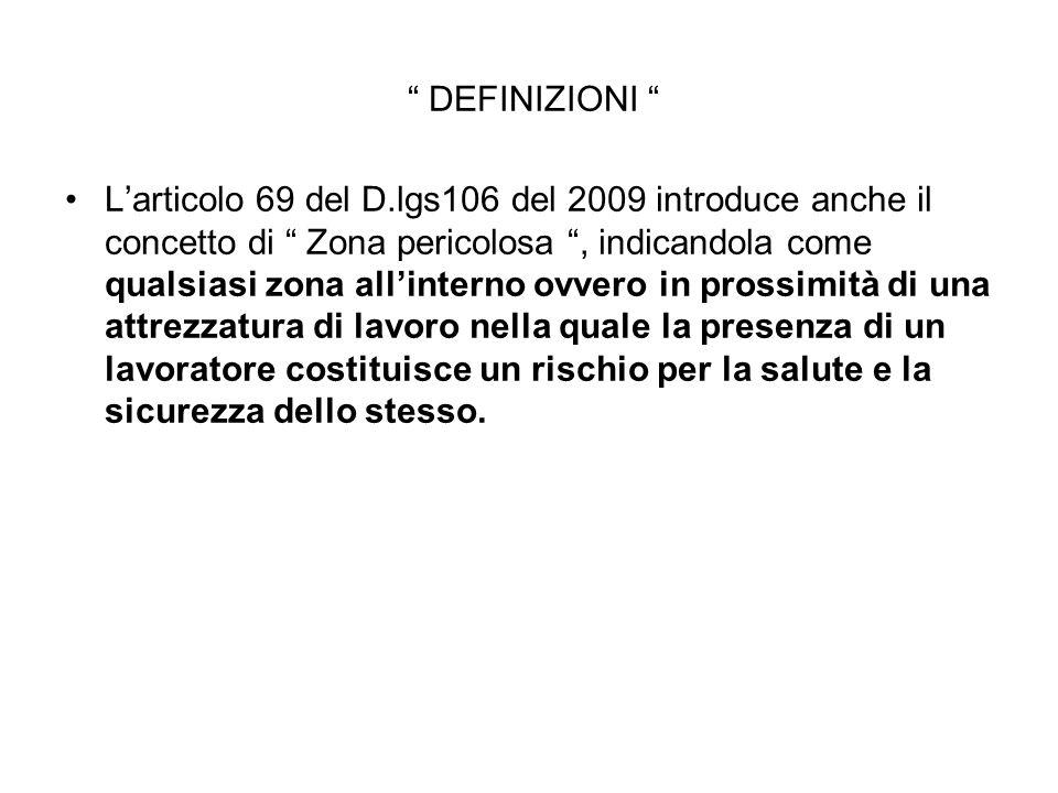 """"""" DEFINIZIONI """" L'articolo 69 del D.lgs106 del 2009 introduce anche il concetto di """" Zona pericolosa """", indicandola come qualsiasi zona all'interno ov"""