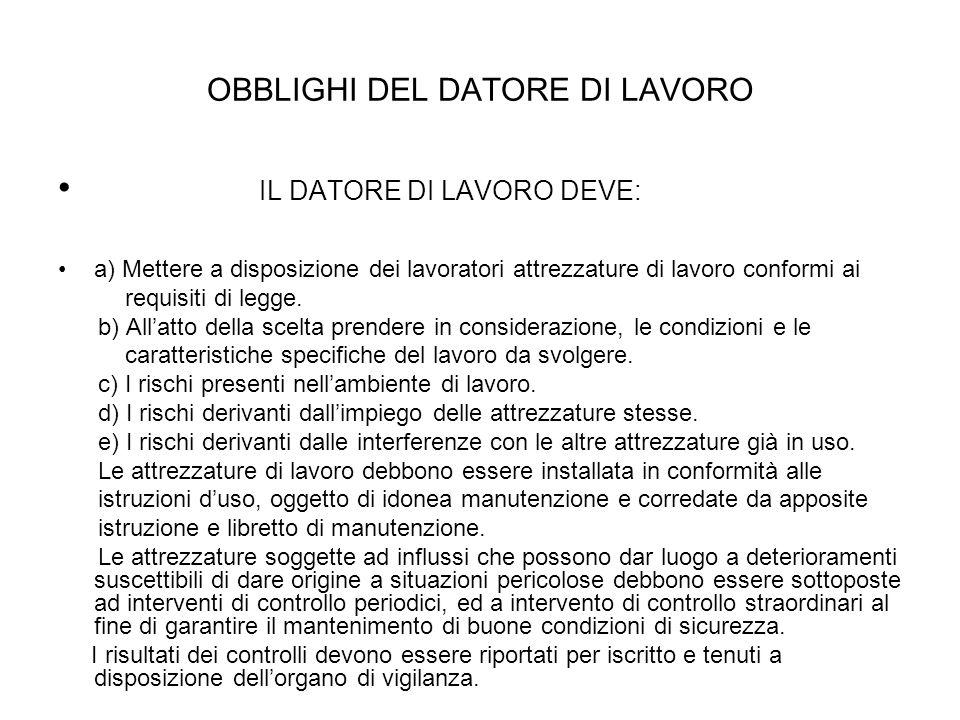 OBBLIGHI DEL DATORE DI LAVORO IL DATORE DI LAVORO DEVE: a) Mettere a disposizione dei lavoratori attrezzature di lavoro conformi ai requisiti di legge