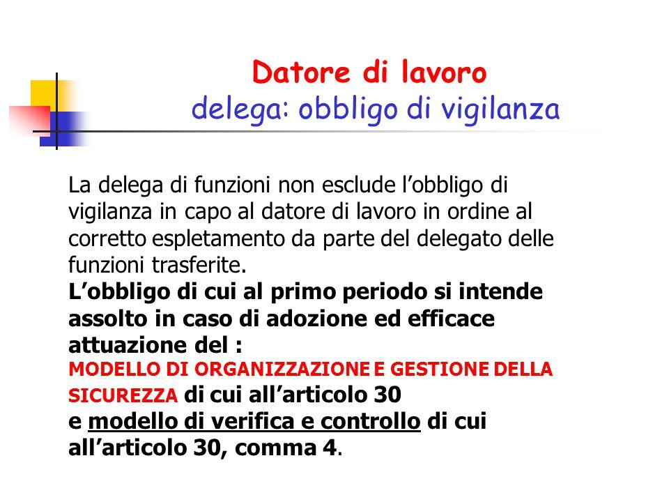 Datore di lavoro delega: obbligo di vigilanza La delega di funzioni non esclude l'obbligo di vigilanza in capo al datore di lavoro in ordine al corret