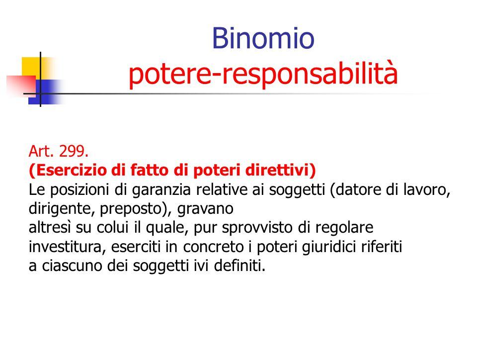 Binomio potere-responsabilità Art. 299. (Esercizio di fatto di poteri direttivi) Le posizioni di garanzia relative ai soggetti (datore di lavoro, diri