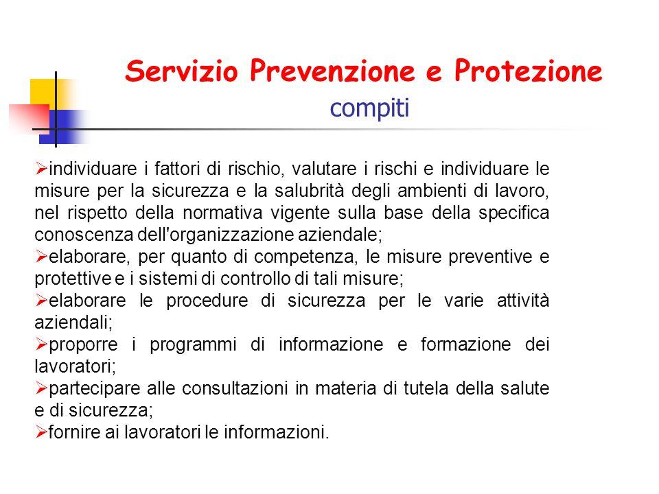 Servizio Prevenzione e Protezione compiti  individuare i fattori di rischio, valutare i rischi e individuare le misure per la sicurezza e la salubrit