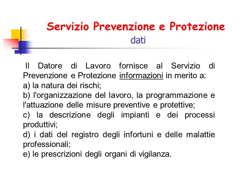 Servizio Prevenzione e Protezione dati Il Datore di Lavoro fornisce al Servizio di Prevenzione e Protezione informazioni in merito a: a) la natura dei