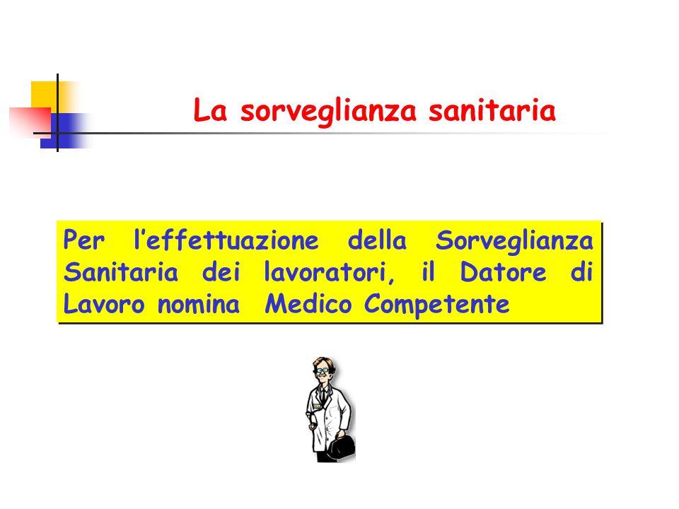 La sorveglianza sanitaria Per l'effettuazione della Sorveglianza Sanitaria dei lavoratori, il Datore di Lavoro nomina Medico Competente