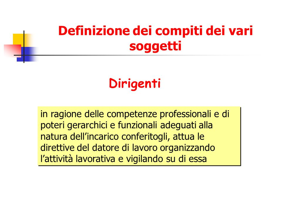 Definizione dei compiti dei vari soggetti Dirigenti in ragione delle competenze professionali e di poteri gerarchici e funzionali adeguati alla natura