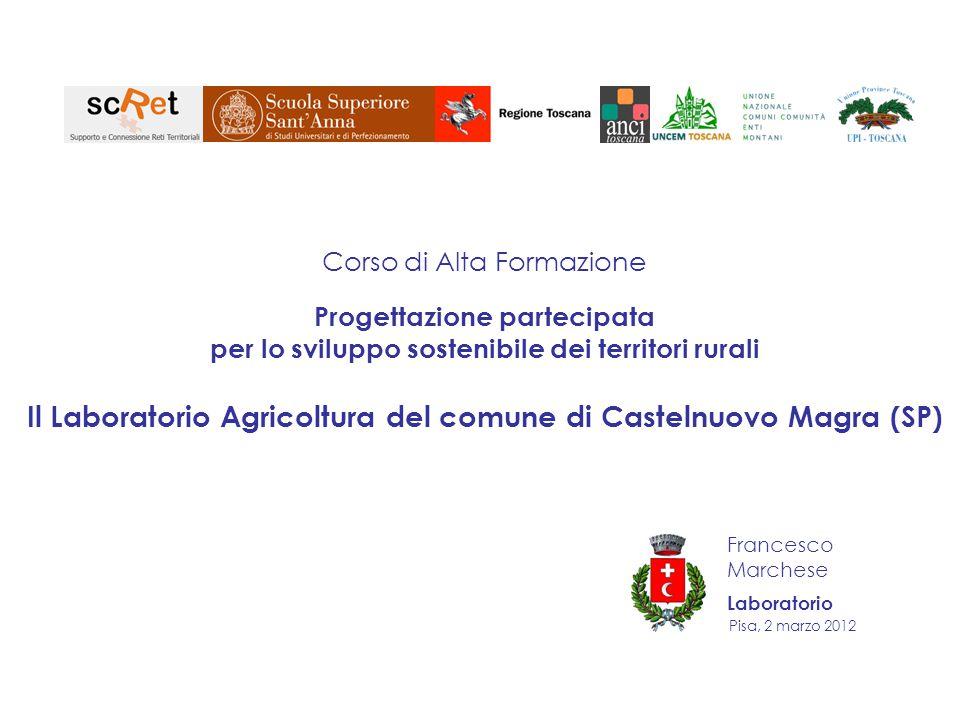 Pisa, 2 marzo 2012 Corso di Alta Formazione Progettazione partecipata per lo sviluppo sostenibile dei territori rurali Il Laboratorio Agricoltura del comune di Castelnuovo Magra (SP) Francesco Marchese Laboratorio