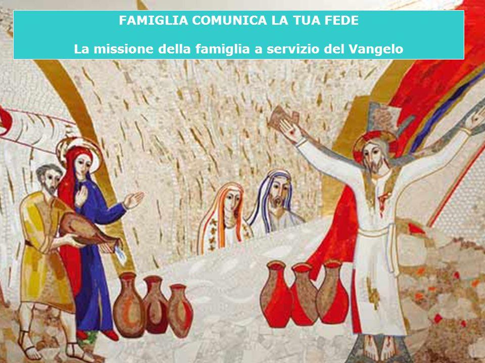 2 Invito alle famiglie ad essere SOGGETTI di EVANGELIZZAZIONE (compito MISSIONARIO all'interno della comunità cristiana): attenzione rivolta alla TRASMISSIONE della FEDE e all'EDUCAZIONE all'AMORE Famiglia comunica la tua fede