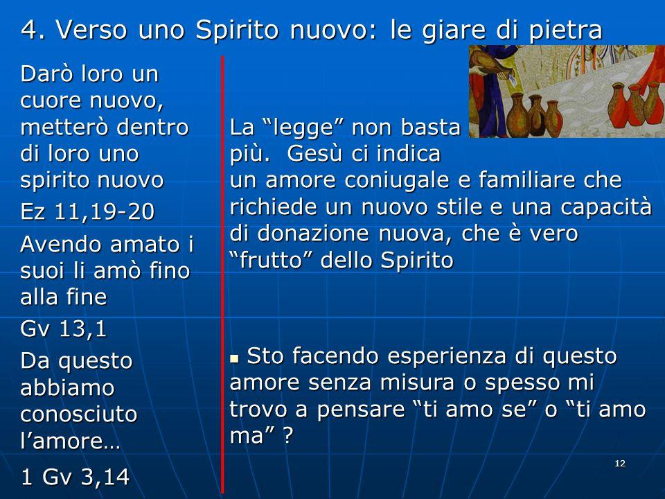 12 4. Verso uno Spirito nuovo: le giare di pietra Darò loro un cuore nuovo, metterò dentro di loro uno spirito nuovo Ez 11,19-20 Avendo amato i suoi l