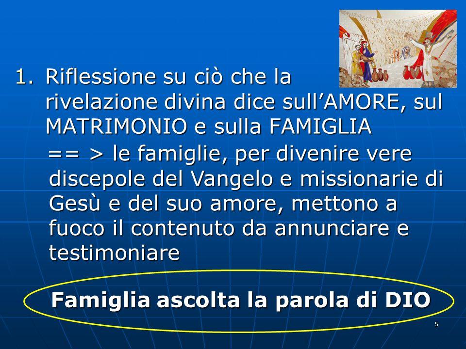 5 1.Riflessione su ciò che la rivelazione divina dice sull'AMORE, sul MATRIMONIO e sulla FAMIGLIA == > le famiglie, per divenire vere discepole del Va
