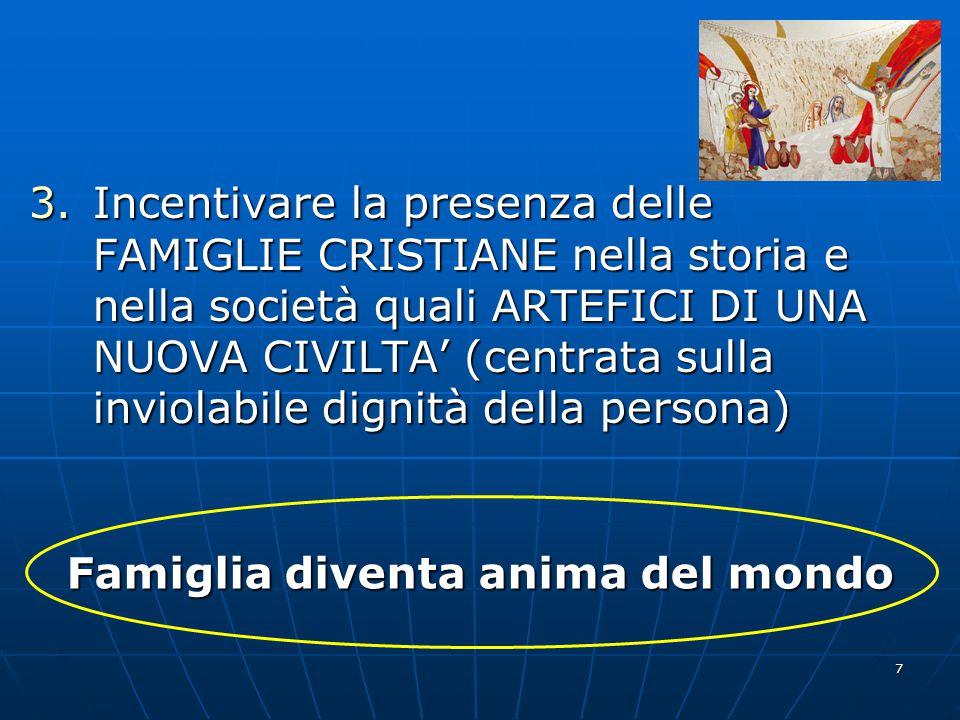 7 3.Incentivare la presenza delle FAMIGLIE CRISTIANE nella storia e nella società quali ARTEFICI DI UNA NUOVA CIVILTA' (centrata sulla inviolabile dig
