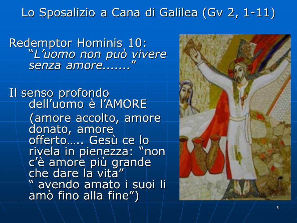 9 Lo Sposalizio a Cana di Galilea (Gv 2, 1-11) L'esperienza dell'amore umano fra due sposi diventa un segno della gloria del Figlio di Dio in mezzo a noi (segno che suscita la fede) ==> manifestò la sua Gloria e i suoi discepoli credettero in Lui