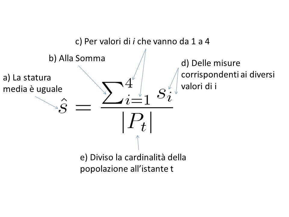 b) Alla Somma c) Per valori di i che vanno da 1 a 4 d) Delle misure corrispondenti ai diversi valori di i a) La statura media è uguale e) Diviso la ca