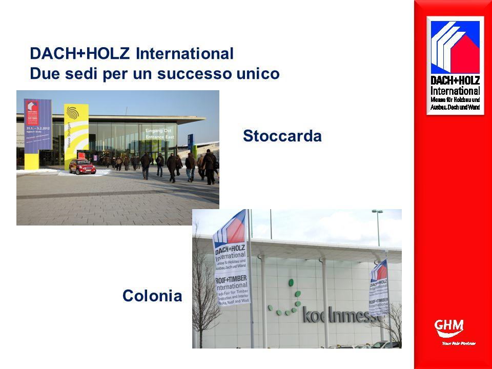 Belegte Bruttofläche: 70.000 qm Belegte Hallen: 1, 3, 5, 7, 9 und Freigelände DACH+HOLZ International Due sedi per un successo unico Colonia Stoccarda