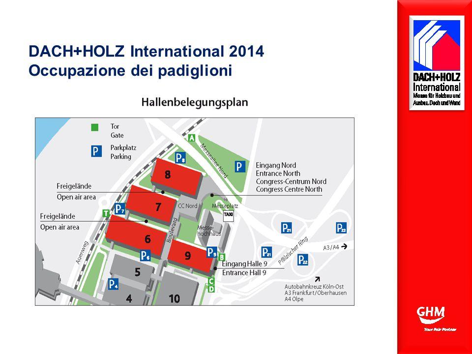 DACH+HOLZ International 2014 Occupazione dei padiglioni