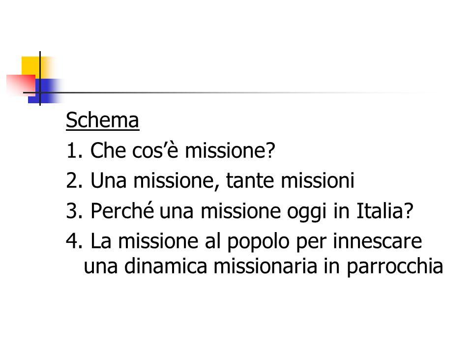 Schema 1. Che cos'è missione. 2. Una missione, tante missioni 3.