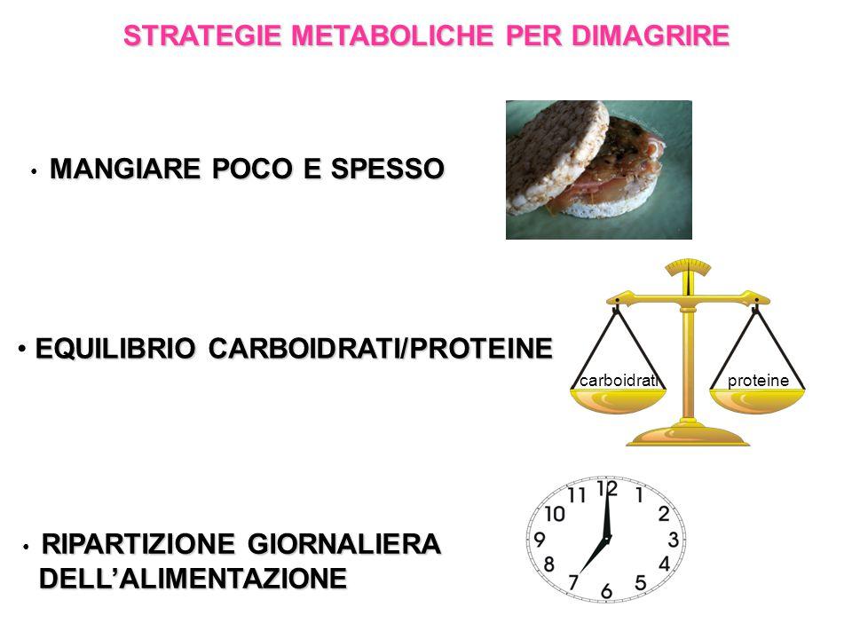 STRATEGIE METABOLICHE PER DIMAGRIRE MANGIARE POCO E SPESSO EQUILIBRIO CARBOIDRATI/PROTEINE RIPARTIZIONE GIORNALIERA DELL'ALIMENTAZIONE DELL'ALIMENTAZIONE carboidratiproteine