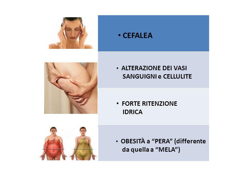 CEFALEA ALTERAZIONE DEI VASI SANGUIGNI e CELLULITE FORTE RITENZIONE IDRICA OBESITÀ a PERA (differente da quella a MELA )