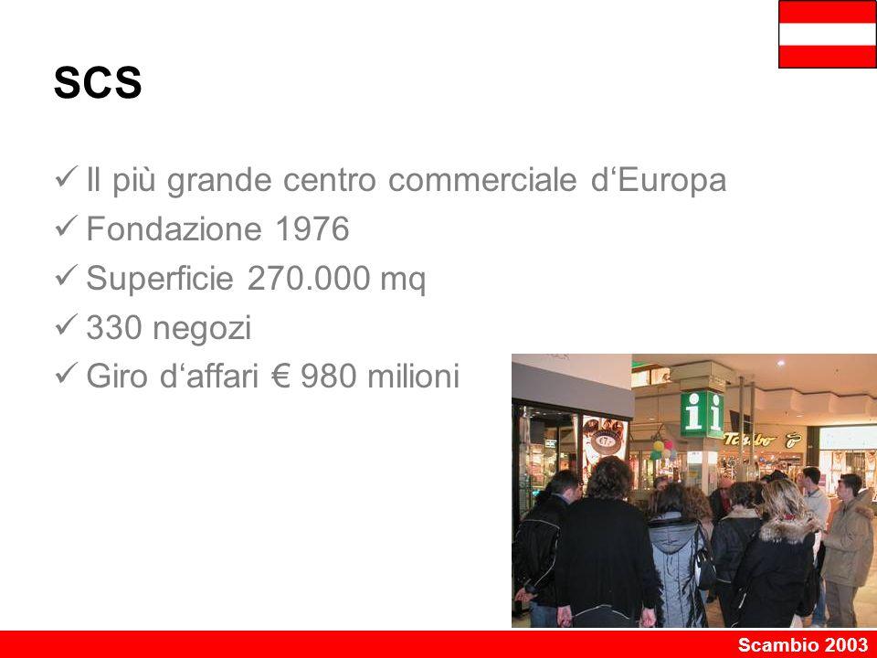 Scambio 2003 SCS Il più grande centro commerciale d'Europa Fondazione 1976 Superficie 270.000 mq 330 negozi Giro d'affari € 980 milioni