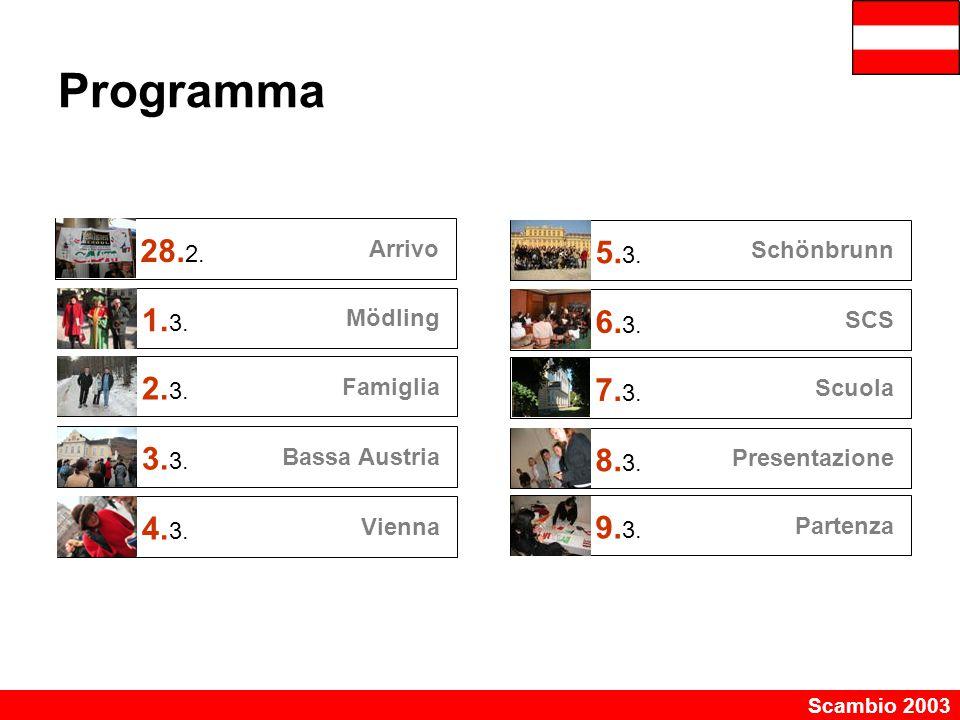 Scambio 2003 Programma 28. 2. Arrivo 1. 3. Mödling 2. 3. Famiglia 3. Bassa Austria 4. 3. Vienna 5. 3. Schönbrunn 6. 3. SCS 7. 3. Scuola 8. 3. Presenta