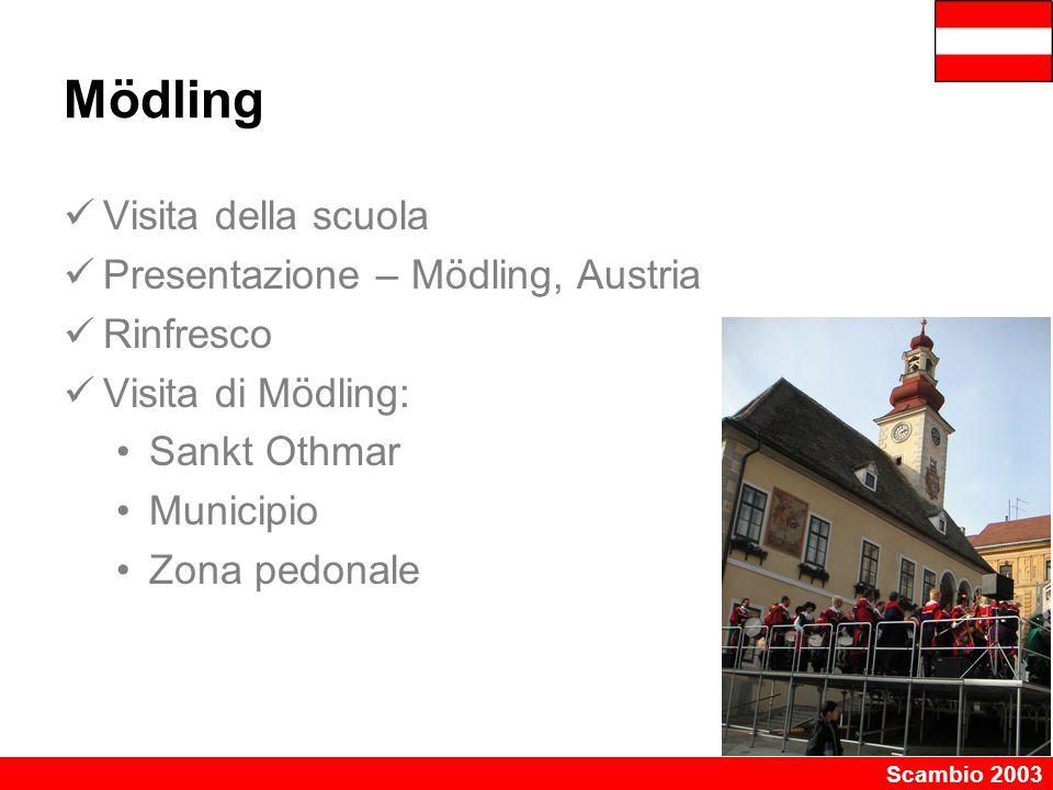Scambio 2003 Mödling Visita della scuola Presentazione – Mödling, Austria Rinfresco Visita di Mödling: Sankt Othmar Municipio Zona pedonale