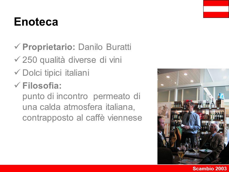 Scambio 2003 Enoteca Proprietario: Danilo Buratti 250 qualità diverse di vini Dolci tipici italiani Filosofia: punto di incontro permeato di una calda