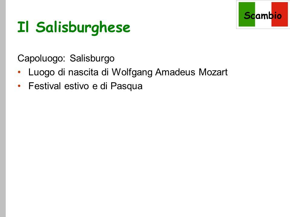 Scambio Il Salisburghese Capoluogo: Salisburgo Luogo di nascita di Wolfgang Amadeus Mozart Festival estivo e di Pasqua