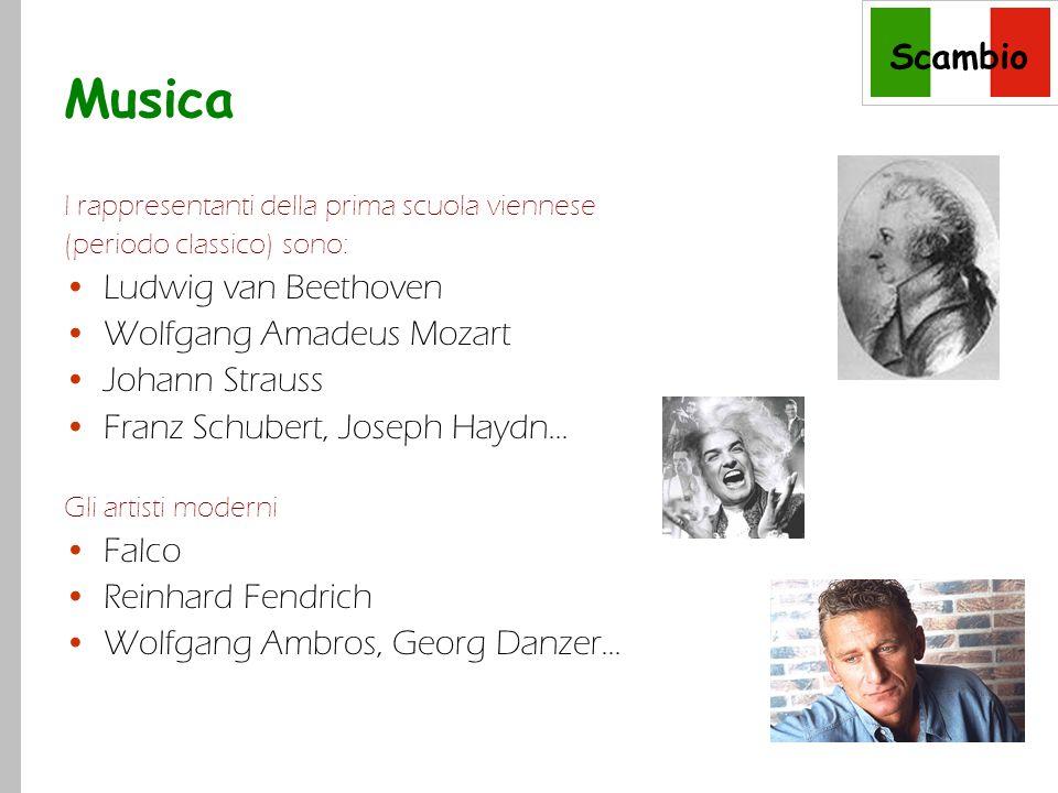 Scambio Musica I rappresentanti della prima scuola viennese (periodo classico) sono: Ludwig van Beethoven Wolfgang Amadeus Mozart Johann Strauss Franz Schubert, Joseph Haydn...