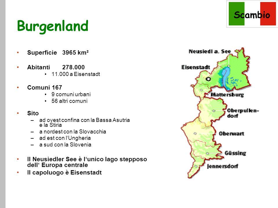 Scambio Burgenland Superficie 3965 km² Abitanti 278.000 11.000 a Eisenstadt Comuni 167 9 comuni urbani 56 altri comuni Sito –ad ovest confina con la Bassa Asutria e la Stiria –a nordest con la Slovacchia –ad est con l'Ungheria –a sud con la Slovenia Il Neusiedler See è l'unico lago stepposo dell' Europa centrale Il capoluogo è Eisenstadt