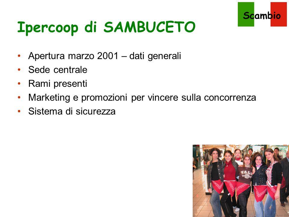 Scambio Ipercoop di SAMBUCETO Apertura marzo 2001 – dati generali Sede centrale Rami presenti Marketing e promozioni per vincere sulla concorrenza Sis