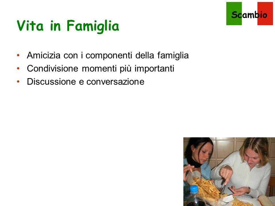Scambio Vita in Famiglia Amicizia con i componenti della famiglia Condivisione momenti più importanti Discussione e conversazione