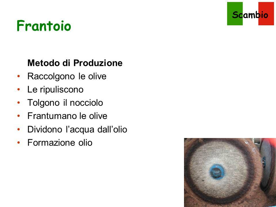 Scambio Frantoio Metodo di Produzione Raccolgono le olive Le ripuliscono Tolgono il nocciolo Frantumano le olive Dividono l'acqua dall'olio Formazione
