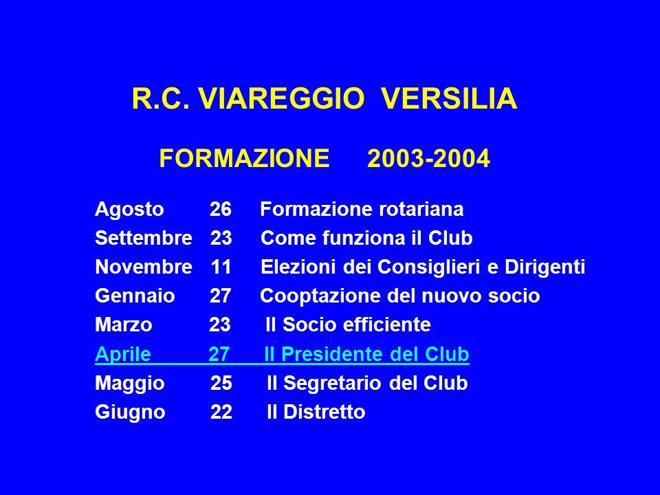 R.C. VIAREGGIO VERSILIA FORMAZIONE 2003-2004 Agosto 26 Formazione rotariana Settembre 23 Come funziona il Club Novembre 11 Elezioni dei Consiglieri e