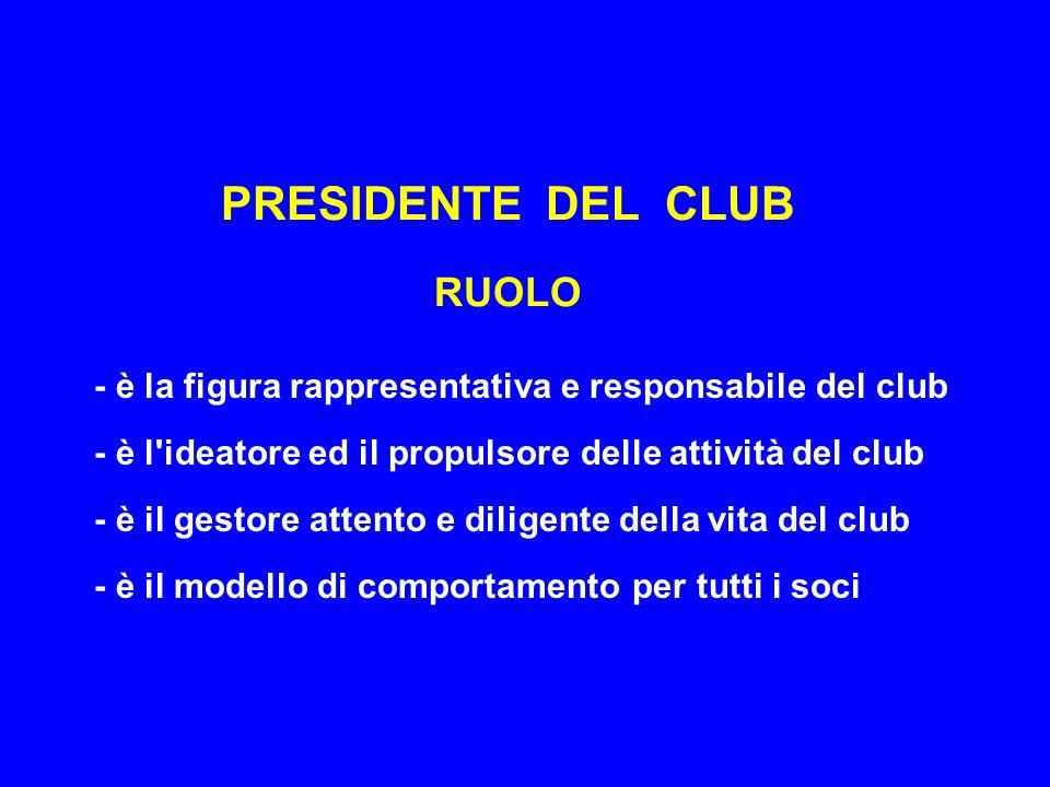 PRESIDENTE DEL CLUB RUOLO - è la figura rappresentativa e responsabile del club - è l ideatore ed il propulsore delle attività del club - è il gestore attento e diligente della vita del club - è il modello di comportamento per tutti i soci