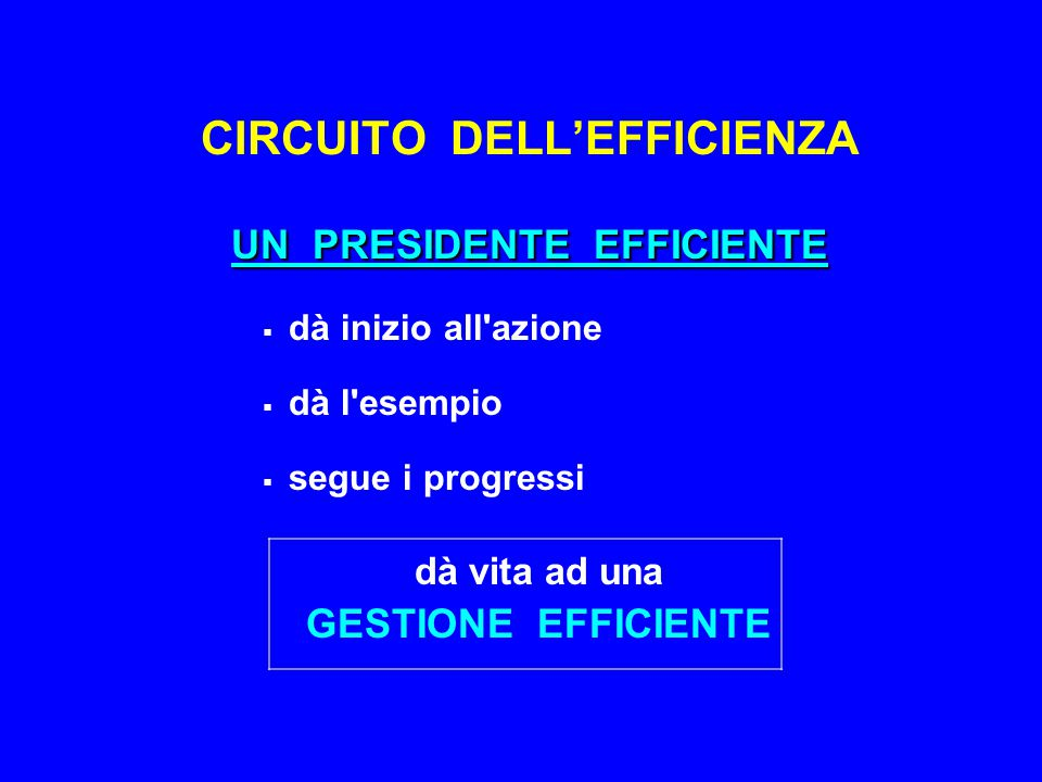 UN PRESIDENTE EFFICIENTE CIRCUITO DELL'EFFICIENZA UN PRESIDENTE EFFICIENTE  dà inizio all azione  dà l esempio  segue i progressi dà vita ad una GESTIONE EFFICIENTE