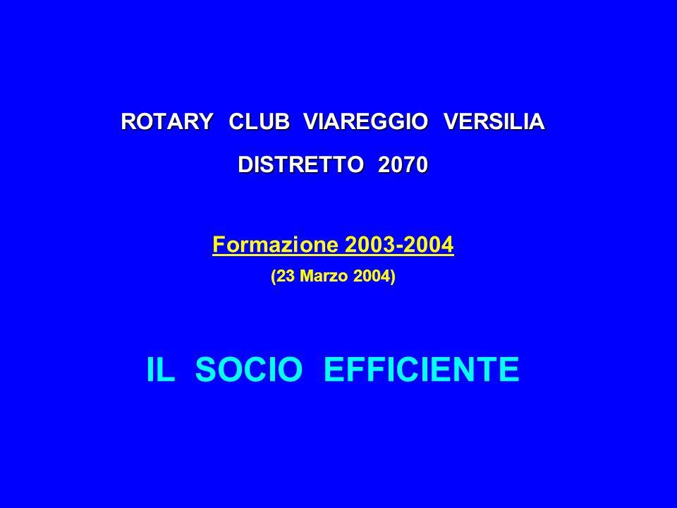 ROTARY CLUB VIAREGGIO VERSILIA DISTRETTO 2070 Formazione 2003-2004 (23 Marzo 2004) IL SOCIO EFFICIENTE