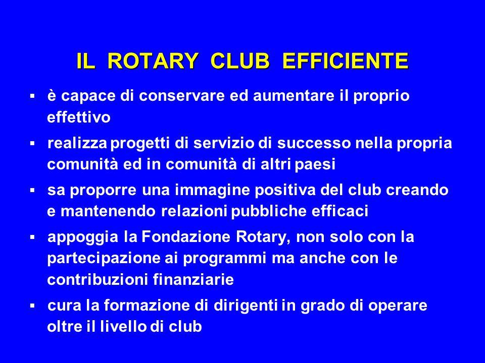 IL ROTARY CLUB EFFICIENTE  è capace di conservare ed aumentare il proprio effettivo  realizza progetti di servizio di successo nella propria comunit