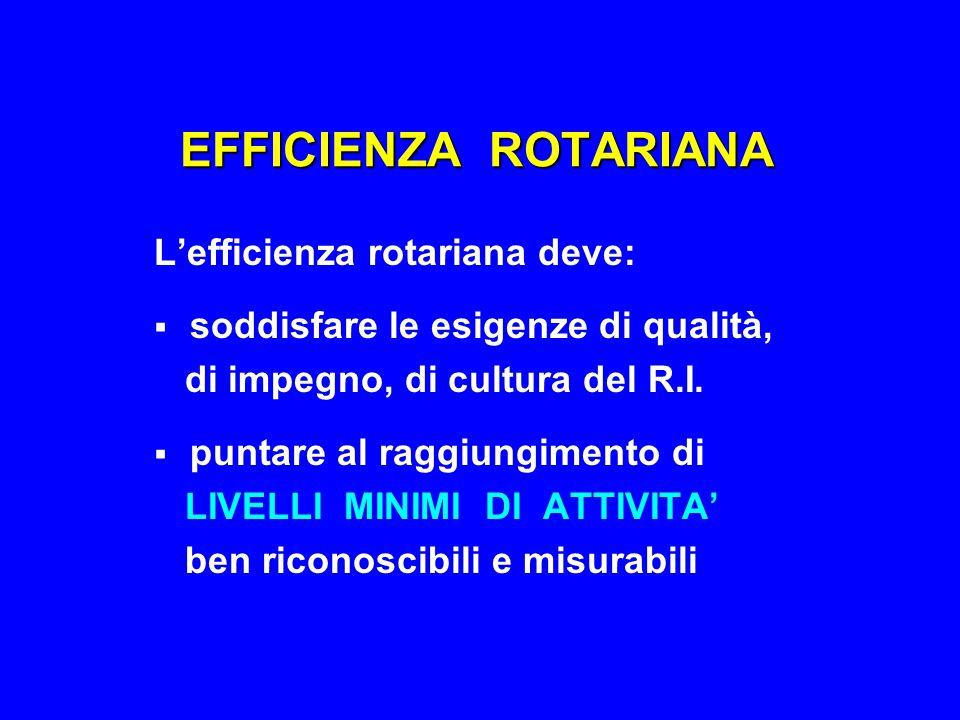 EFFICIENZA ROTARIANA L'efficienza rotariana deve:  soddisfare le esigenze di qualità, di impegno, di cultura del R.I.  puntare al raggiungimento di