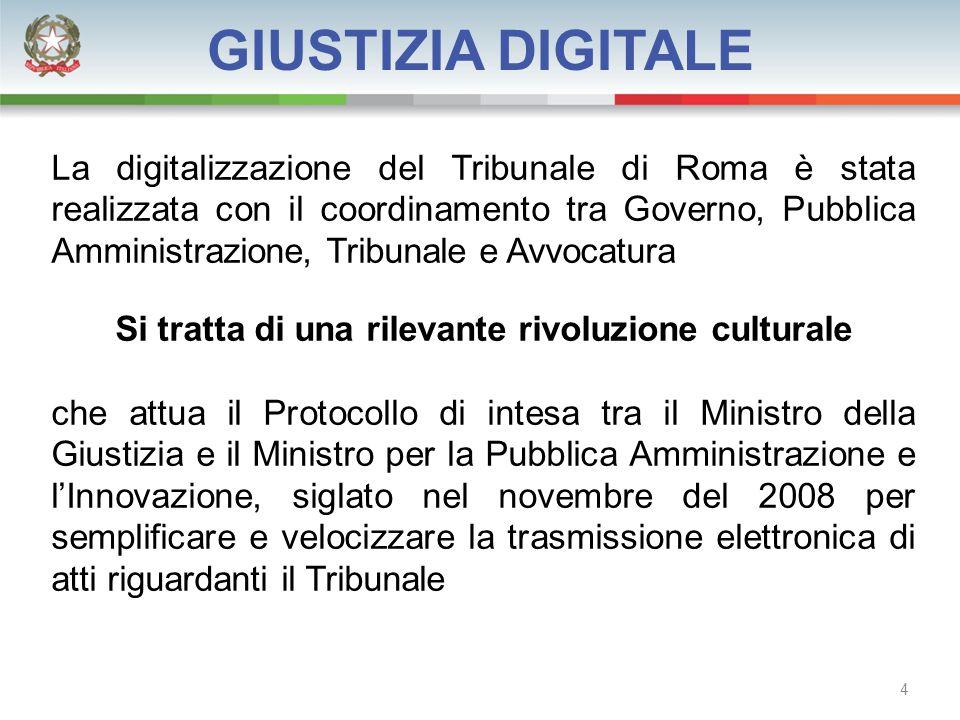 La digitalizzazione del Tribunale di Roma è stata realizzata con il coordinamento tra Governo, Pubblica Amministrazione, Tribunale e Avvocatura Si tratta di una rilevante rivoluzione culturale che attua il Protocollo di intesa tra il Ministro della Giustizia e il Ministro per la Pubblica Amministrazione e l'Innovazione, siglato nel novembre del 2008 per semplificare e velocizzare la trasmissione elettronica di atti riguardanti il Tribunale GIUSTIZIA DIGITALE 4