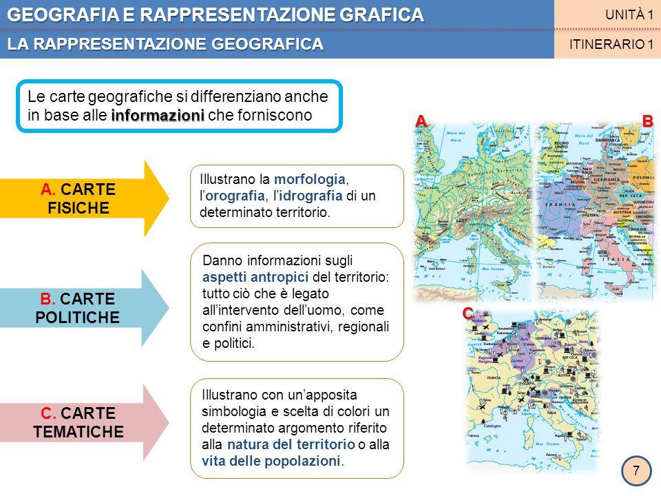 GEOGRAFIA E RAPPRESENTAZIONE GRAFICA LA RAPPRESENTAZIONE GEOGRAFICA UNITÀ 1 ITINERARIO 1 A. CARTE FISICHE B. CARTE POLITICHE Illustrano la morfologia,