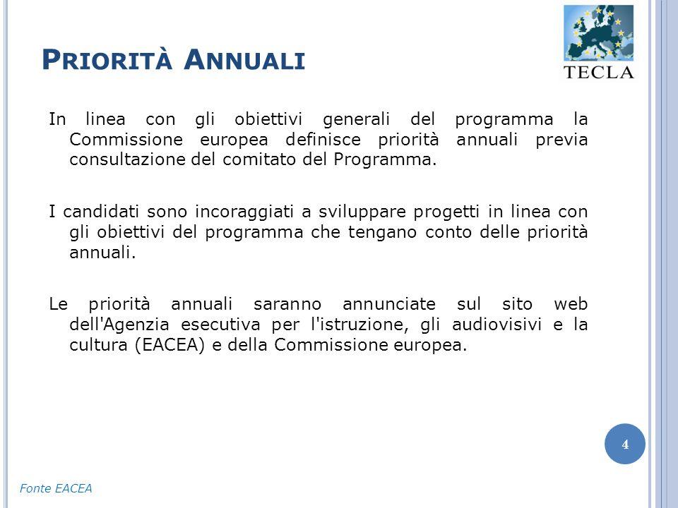 P RIORITÀ A NNUALI 4 In linea con gli obiettivi generali del programma la Commissione europea definisce priorità annuali previa consultazione del comitato del Programma.