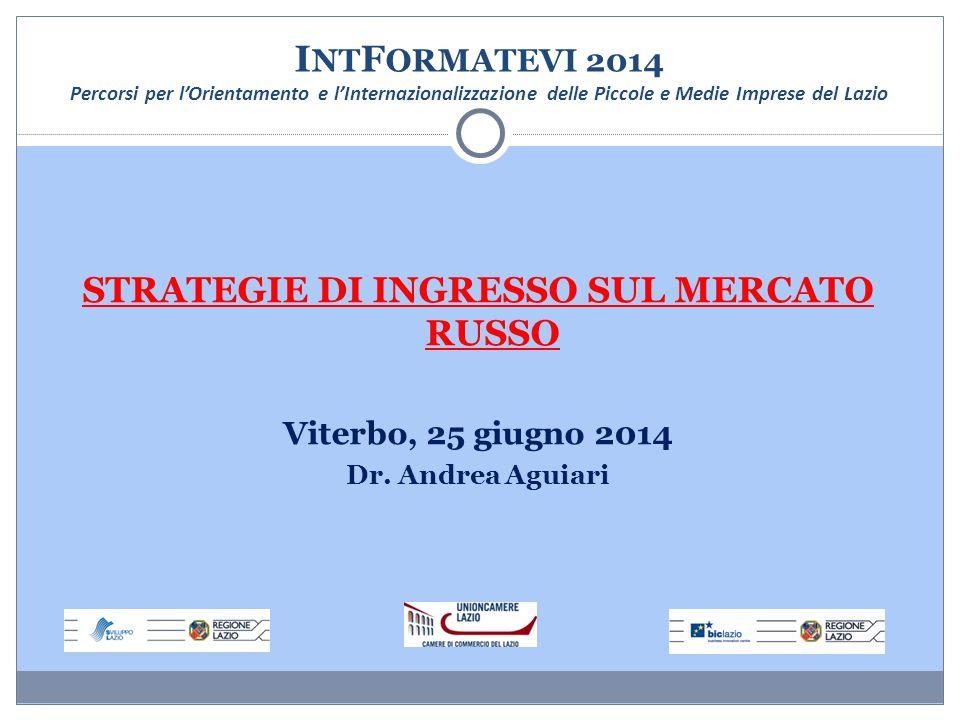 I NT F ORMATEVI 2014 Percorsi per l'Orientamento e l'Internazionalizzazione delle Piccole e Medie Imprese del Lazio STRATEGIE DI INGRESSO SUL MERCATO