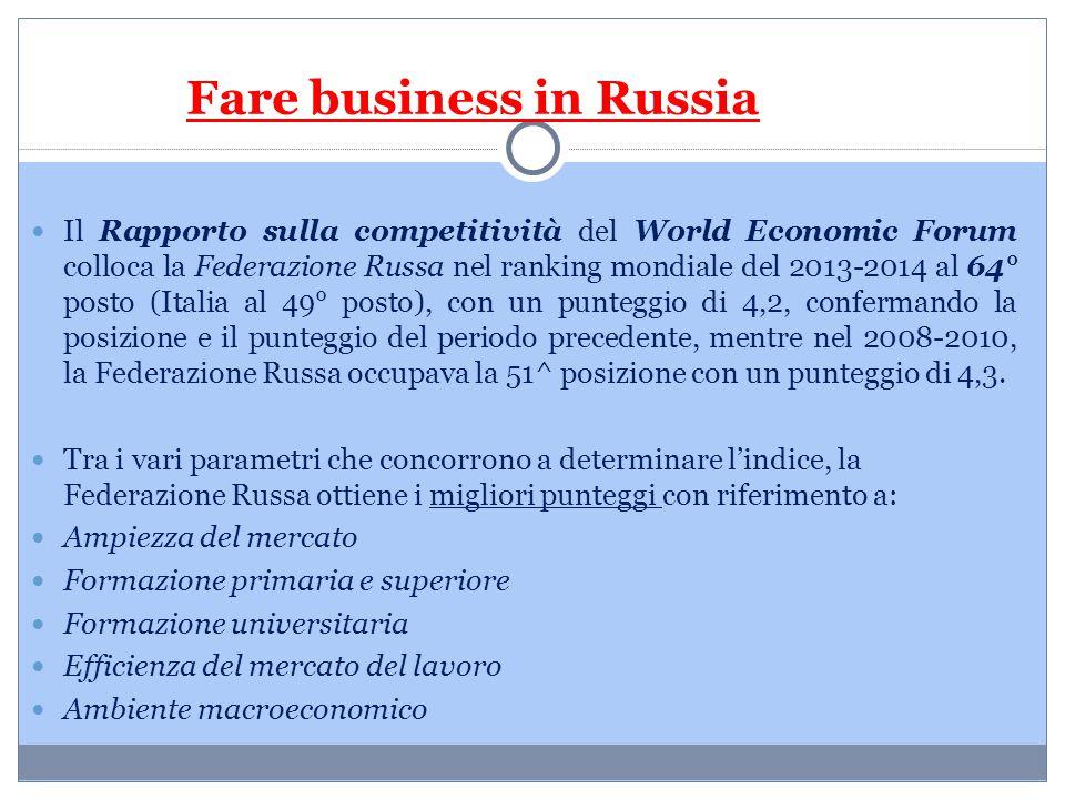 Fare business in Russia Il Rapporto sulla competitività del World Economic Forum colloca la Federazione Russa nel ranking mondiale del 2013-2014 al 64