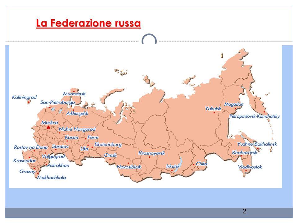 Note generali La Federazione russa si estende per undici fusi orari su due continenti, Europa e Asia, coprendo tutte le zone climatiche, dai ghiacci artici al nord alla vegetazione subtropicale sempreverde sul Mar Nero e nel Caucaso, ai deserti vicino al Mar Caspio.