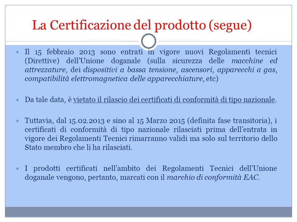 La Certificazione del prodotto (segue) Il 15 febbraio 2013 sono entrati in vigore nuovi Regolamenti tecnici (Direttive) dell'Unione doganale (sulla si