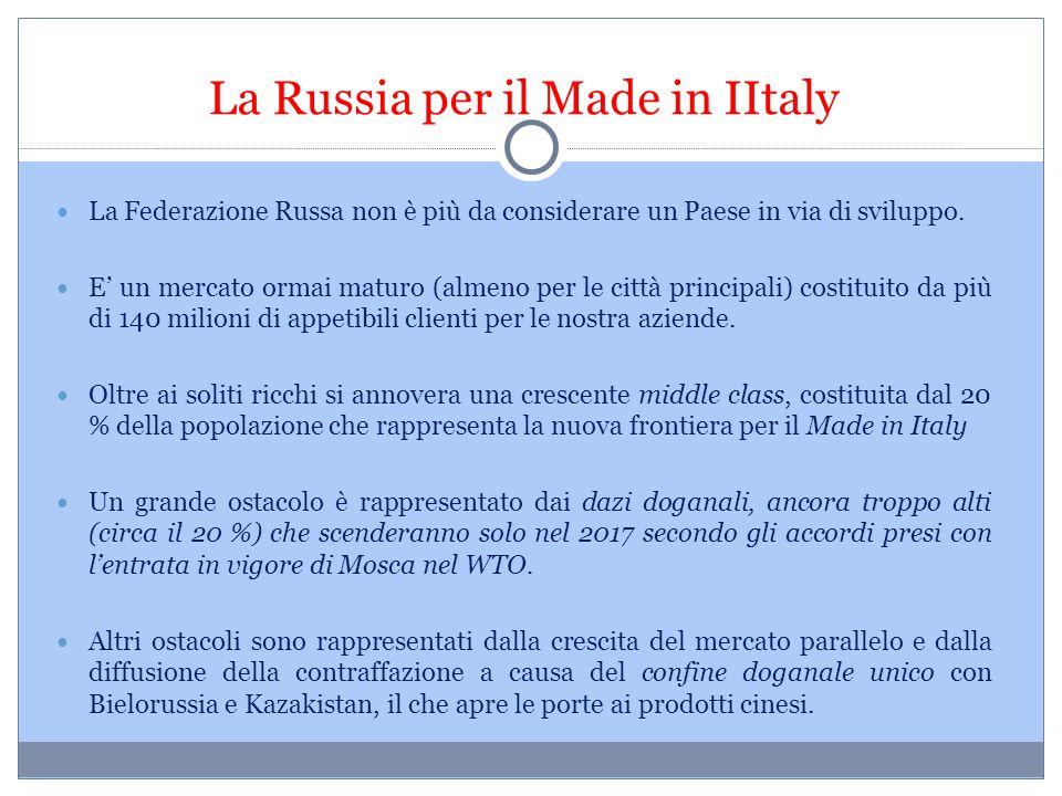 La Russia per il Made in IItaly La Federazione Russa non è più da considerare un Paese in via di sviluppo. E' un mercato ormai maturo (almeno per le c