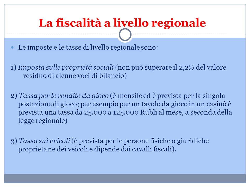 La fiscalità a livello regionale Le imposte e le tasse di livello regionale sono: 1) Imposta sulle proprietà sociali (non può superare il 2,2% del val