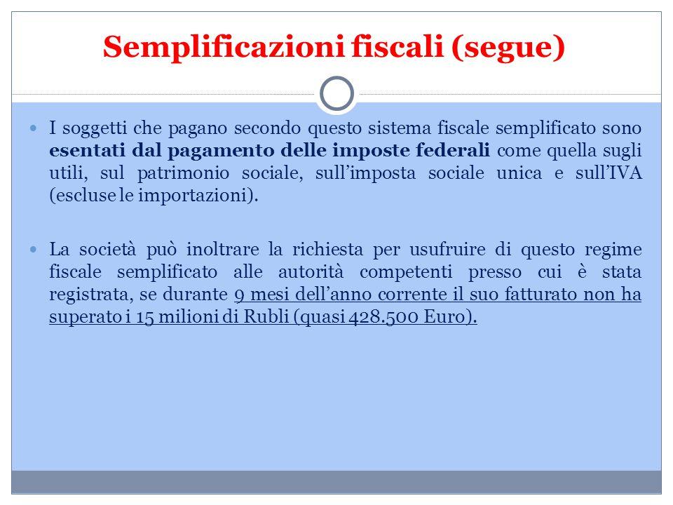 Semplificazioni fiscali (segue) I soggetti che pagano secondo questo sistema fiscale semplificato sono esentati dal pagamento delle imposte federali c